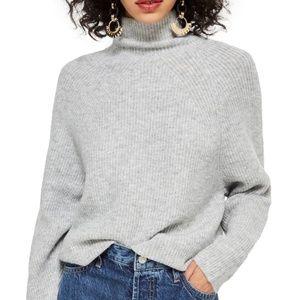 TopShop Raglan Grey Turtleneck Sweater